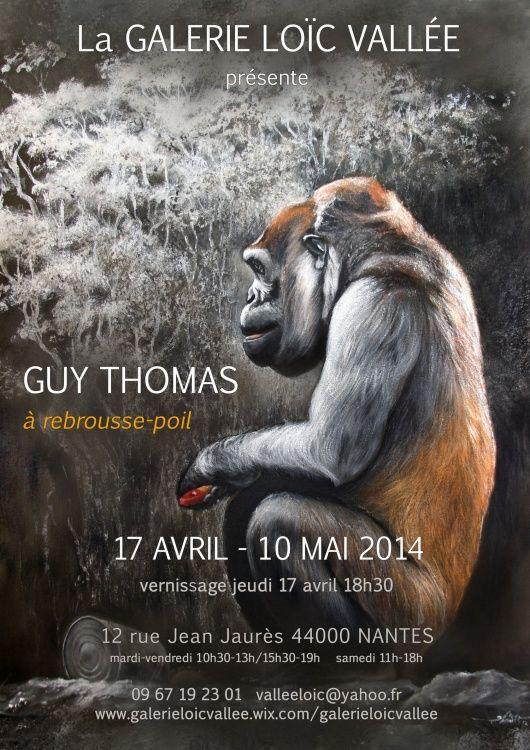 Expo solo Guy Thomas,  Galerie Loïc Vallée NANTES,  art animalier hors pistes,  portraits animaliers